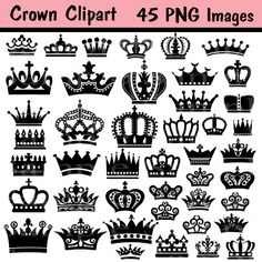 45 Images Crown Clipart Clip Art INSTANT DOWNLOAD by BridalBust
