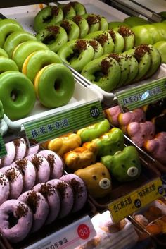 Donuts Taiwan Colors Food. Variety of flavors, low prices. It's from a Taiwanese donut parlour, hence prices are given in NT.  Looks very similar to Japanese donut shops.
