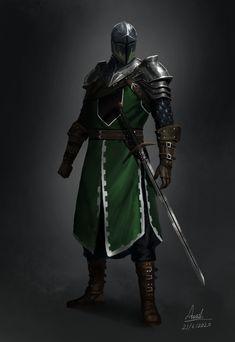 Fantasy Armor, Fantasy Weapons, Medieval Fantasy, Dark Fantasy Art, Medieval Armor, Dungeons And Dragons Characters, Fantasy Characters, Fantasy Character Design, Character Art