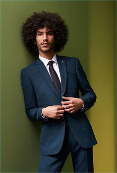 Yassine Rahal suits up for Farah's fall-winter 2017 campaign.