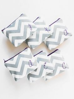 Personalized Chevron Cosmetic Bags Monogram-Bridesmaid gifts!