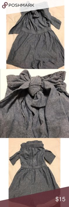 Chambray Strapless Romper This strapless chambray romper is super cute. Looked 10x cuter with the way the bow in front was originally tied. If your bow making skills are better than mine then you're in luck! Still in great condition. Only worn a couple times and grew out of it. Cute to wear with wedges and a bandana Dresses Mini