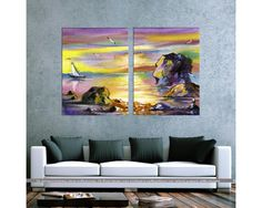 Sea landscape, δίπτυχος  πίνακας σε καμβά (multipanel) Painting, Art, Art Background, Painting Art, Kunst, Paintings, Performing Arts, Painted Canvas, Drawings