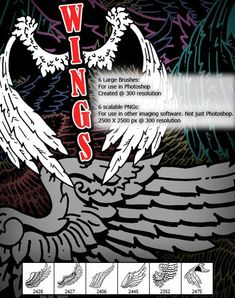 Buy Wings by Hassified on GraphicRiver. 6 Large High-res Brushes: For use in Photoshop Created @ 300 resolution 6 scalable PNGs: For use in other imaging sof. Photoshop Tips, Photoshop Brushes, Social Media Icons, Tattoo Sketches, Artist At Work, Designs To Draw, Icon Design, Photo Editing, Graphic Design