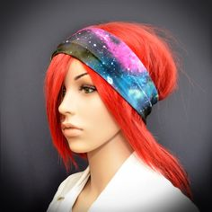 Stretchy headband with colorful galaxy, stars, planets and space print on Etsy, $9.00