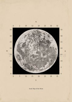Scale Map of the moon Astronomy Print Recovered Vintage Image A3 to Frame via Etsy.