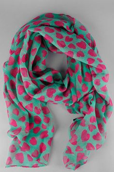 cold hearted scarf -- hot pink hearts on turquoise