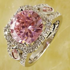 Pink&White Topaz Crystal Women Wedding Jewelry Princess Silver Rings Size 7-10