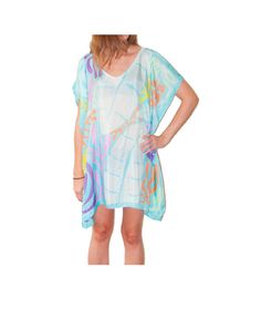 Hand Painted Silk poncho silk caftan silk by RebeccaChristenSilk