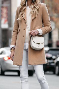 Blonde Woman Wearing Camel Wool Coat White Skinny Jeans Celine Trotteur White Handbag Fashion Jackson Dallas Blogger Fashion Blogger Street Style