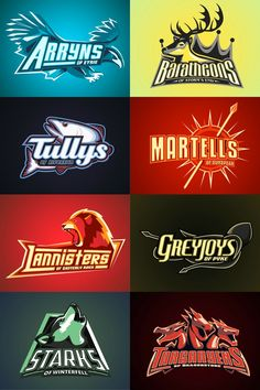 sports design Game of Thrones sigels made into Sports logos. Typography Logo, Logo Branding, Branding Design, Gfx Design, Sports Team Logos, Sports Teams, Esports Logo, E Sport, Sports Graphics