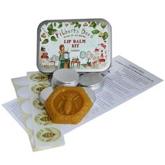 "From our ""Make It At Home"" range. A fun and creative gift, a way to save money, or maybe you have allergies to some oils? This popular present contains a recipe sheet and instructions, 5 tins / Filberts labels / blank labels and Dorset beeswax in a Queen Bee mould (approx. 15g). You add 4-5 tablespoons of olive and sunflower oils and essential oils (optional) of your choice to create your special lip balm. Suitable for age 8+ with adult supervision."