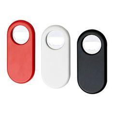 STÄM bottle opener, white/black, red Length: 4  Length: 11 cm