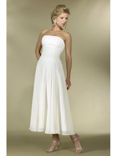 A-line Strapless Tea Length Ivory Chiffon Bridesmaid Dresses Bridal Gowns