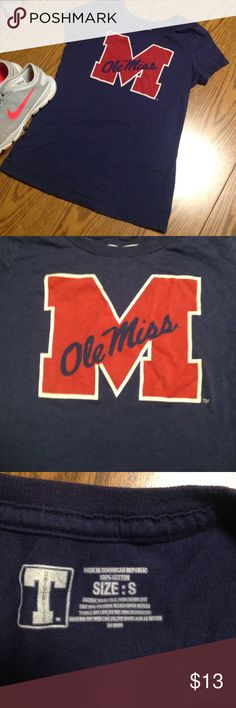 University Ole Miss tee This navy blue Ole Miss tee is supporting the Ole Miss rebels team! Tops Tees - Short Sleeve