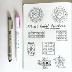 """""""Mini Habit Trackers for your monthly spreads in your bullet journal """""""