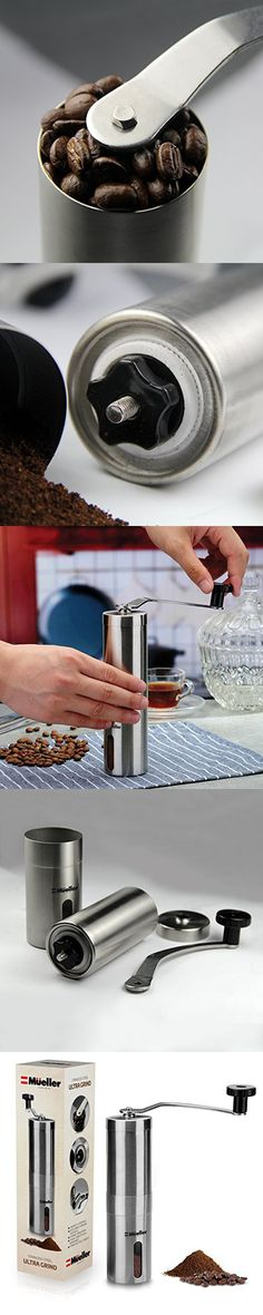 Turkish Strongest and Heaviest Duty Portable Conical Burr Mill Handheld Mini Whole Bean Manual Coffee Grinder for French Press K Cup Midas Upgrade-Grind Brushed Stainless Steel
