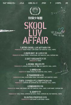 "BTS Reveals Tracklist for ""Skool Luv Affair"" | Soompi"