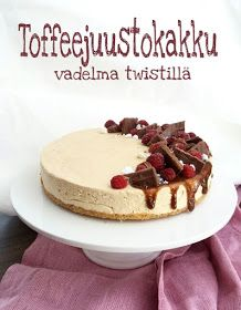 Paperivuoka: Toffeejuustokakku vadelma twistillä Yams, Healthy Treats, Vegan Desserts, Cheesecake, Goodies, Brunch, Pie, Candy, Cooking