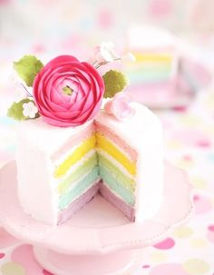 Rainbow cake pastel #Gourmandise