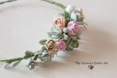 Wedding succulent ranunculus headband Bridal от CoolClayFlowers