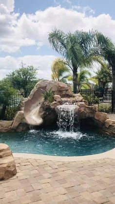 Backyard Pool Landscaping, Backyard Pool Designs, Small Backyard Pools, Swimming Pools Backyard, Swimming Pool Designs, Outdoor Pool, Backyard Ideas, Water Falls Backyard, Backyard Beach