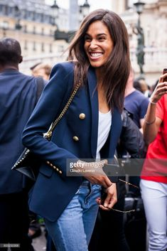 Model Cindy Bruna wearing denim jeans, ankle boots, blazer and white tshirt is seen after the Balmain fashion show during Paris Fashion week Womenswear on September 2017 in Paris, France. Casual Work Outfits, Classy Outfits, New Outfits, Stylish Outfits, Fashion Outfits, Balmain Blazer Outfits, Blazer Fashion, Look Blazer, Stylish Clothes For Women