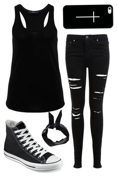 """All black set"" by ticci-toby ❤ liked on Polyvore featuring Hallhuber, Miss Selfridge, Converse, Boohoo and Casetify"