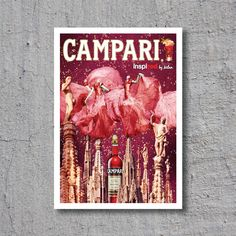 1966 Campari Red - inspired by Milan // Liqueur Aperitif // High Quality Fine Art Reproduction Giclée Print // Vintage Poster / Canvas by WiredWizardWeb on Etsy