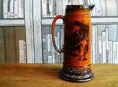 Huge pitcher jug, Coaching days and Coaching ways scenes pitcher jug, steampunk style,  Ridgway Pottery, Man cave decor, Vintage bar decor