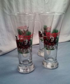 Set of 4 Budweiser Clydesdales Glasses 2000 Collector Series FREE SHIPPING
