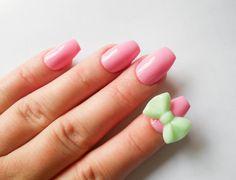 Pink Fake Nails, 3D Nails, False Nails, Acrylic Nails, Bow Nails, Ballerina Nails, 3D, Kawaii, Lolita, Pastel, Mint Green, Fake Nails