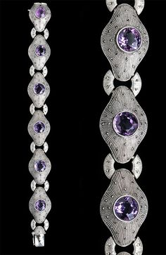 GUSTAV BRAENDLE, THEODOR FAHRNER Art Deco Bracelet  Silver Amethyst Marcasite  German, c.1930