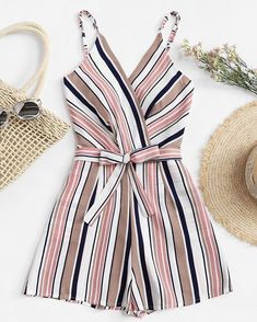 To find out about the Plus Multi-Stripe Tie Waist Cami Jumpsuit at SHEIN, part of our latest Plus Size Jumpsuits ready to shop online today! Trendy Outfits, Summer Outfits, Cute Outfits, Teen Fashion, Fashion Outfits, Womens Fashion, Danish Fashion, Vetement Fashion, Plus Size Jumpsuit