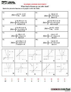 Piecewise Functions Cut-Out Puzzle | Puzzles, Activities and Student