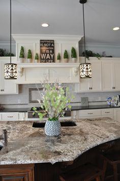 emperador granite- Large Island- granite color with dark wood. Like the vent hood Design My Kitchen, Home Decor Kitchen, Kitchen Interior, Home Kitchens, Kitchen Bars, Big Kitchen, Country Kitchen, Granite Kitchen, Kitchen Cabinets