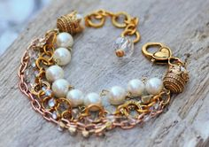 Beautiful pearl beads  rhinestone strand gold chains  by Soulceen