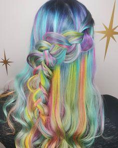 pastel rainbow hair pink blue green yellow purple mermaid hair unicorn