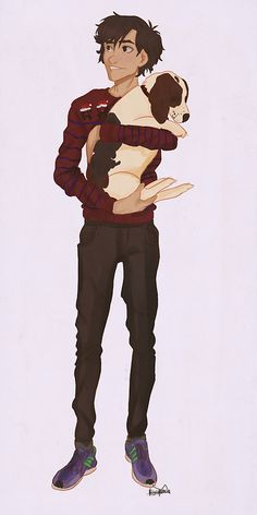 """Nico has a dog and is smiling, everything you say from here on out is meaningless <<< Nico: *starts crying and smiling after opening Christmas present* Jason: """"Thought you needed a friend."""" Puppy: *licks the happy tears off of Nico's cheeks*<<< Guys it's a Nappiness pin!!!"""