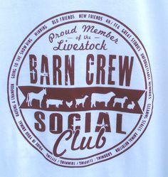 Livestock Barn Crew Social Club Tshirt. $20.00, via Etsy.
