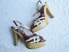 RARE 1970s VINTAGE Red White Leather ZEBRA WOOD Platform RAPHAEL Shoes Sandals 8