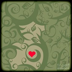 Heart And Vines Drawing  - Heart And Vines Fine Art Print