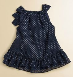 Miniclasix Infant's Chiffon Top in Navy/White Baby Girl Dress Patterns, Baby Girl Dresses, Baby Dress, Little Girl Fashion, Toddler Fashion, Kids Fashion, Kids Frocks, Frocks For Girls, Teen Fashion Outfits