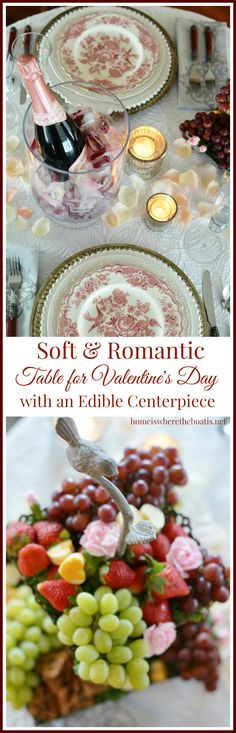 Edible centerpiece and romantic table for Valentine\'s Day with rose petals and floral ice cubes for champagne   homeiswheretheboa...
