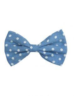 Polka Dot Denim Bow Hair Clip.... So Cute....