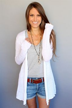 This white linen cardi by Acrobat is essential for spring! #cardi #linen #spring