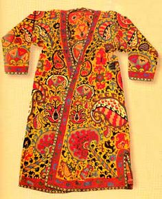 densely embroidered garment with traditional Shahrisabz motifs and colors - Sanat: the embroidery of Shahrisabz