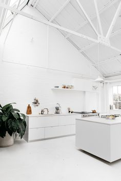 Rye London a Scandi-inflected all-white kitchen in London with customized Ikea cabinets and Smeg appliances