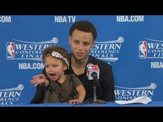Stephen Curry's Daughter Steals the Postgame Show | Rockets vs Warriors | Game 1 | 2015 NBA Playoffs - YouTube