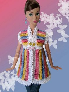 """""""What a Doll Baby"""" – Barbie Crochet Barbie Patterns, Crochet Doll Dress, Barbie Clothes Patterns, Crochet Barbie Clothes, Doll Clothes Barbie, Knitted Dolls, Barbie Dress, Moda Barbie, Baby Barbie"""